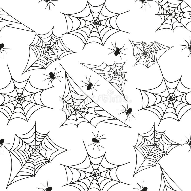 Pajęczyny tła pająka sieci Halloween czerni bezszwowy deseniowy wektor royalty ilustracja