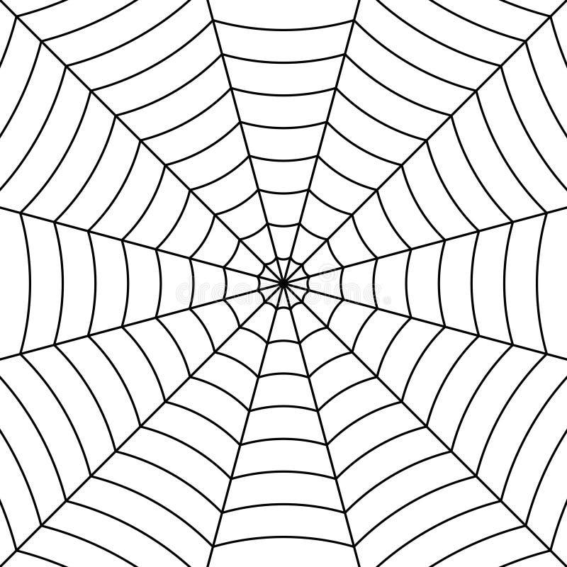 Pajęczyny tło z czarnym przetykającym nić pająkiem, wektorowa symetryczna deseniowa pająk sieć dla Halloween ilustracja wektor