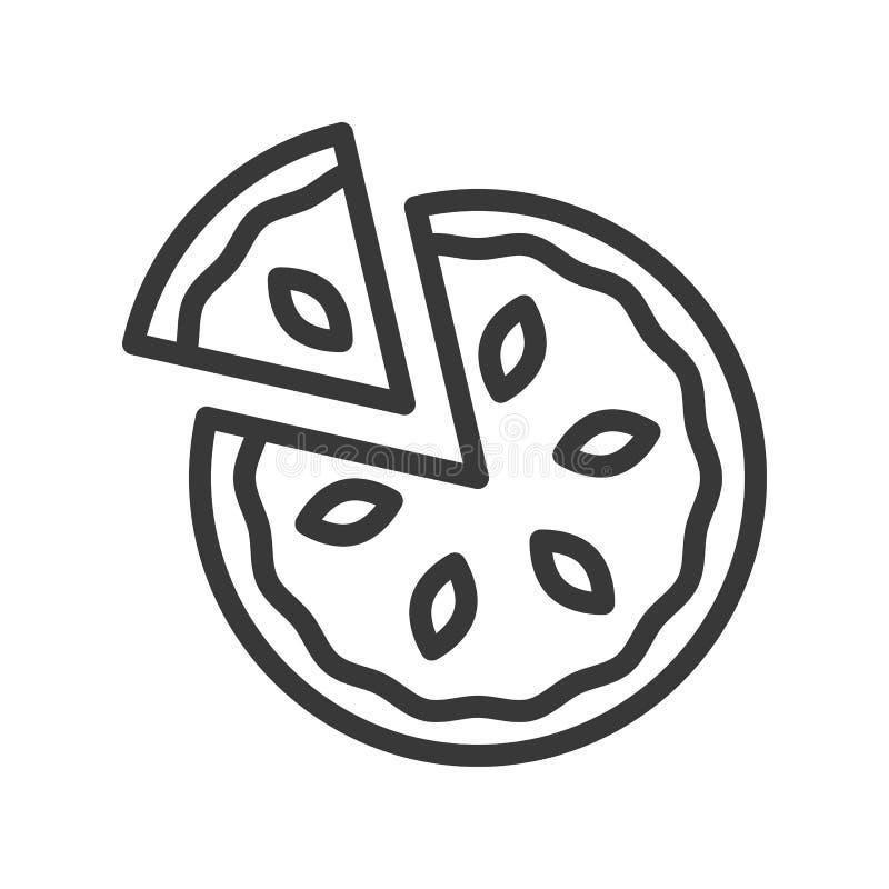 Paj eller pizza, temauppsättning för glad jul, redigerbar slaglängd för översikt vektor illustrationer
