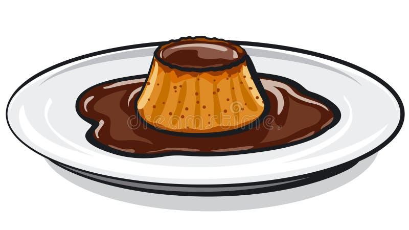 Paj för karamellchokladvaniljsås stock illustrationer