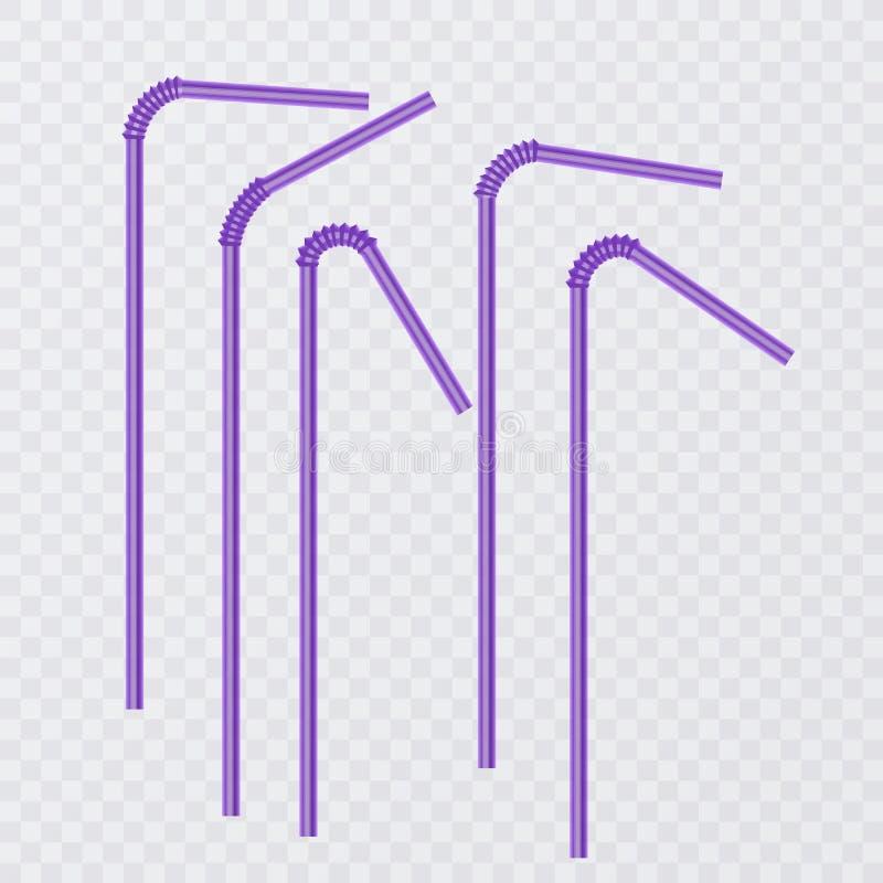 Paja para la bebida Pajas de beber del color púrpura, aisladas en fondo transparente Ilustración del vector stock de ilustración