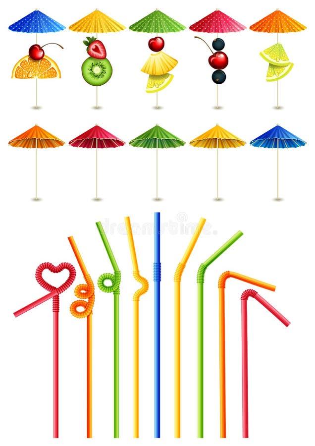 Paja y paraguas del cóctel ilustración del vector
