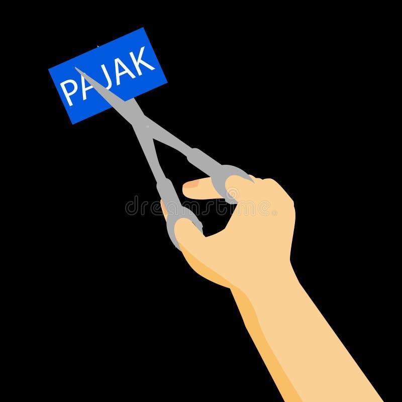 Pajak (税在印度尼西亚语言)切口的在黑背景的例证或特赦 向量例证