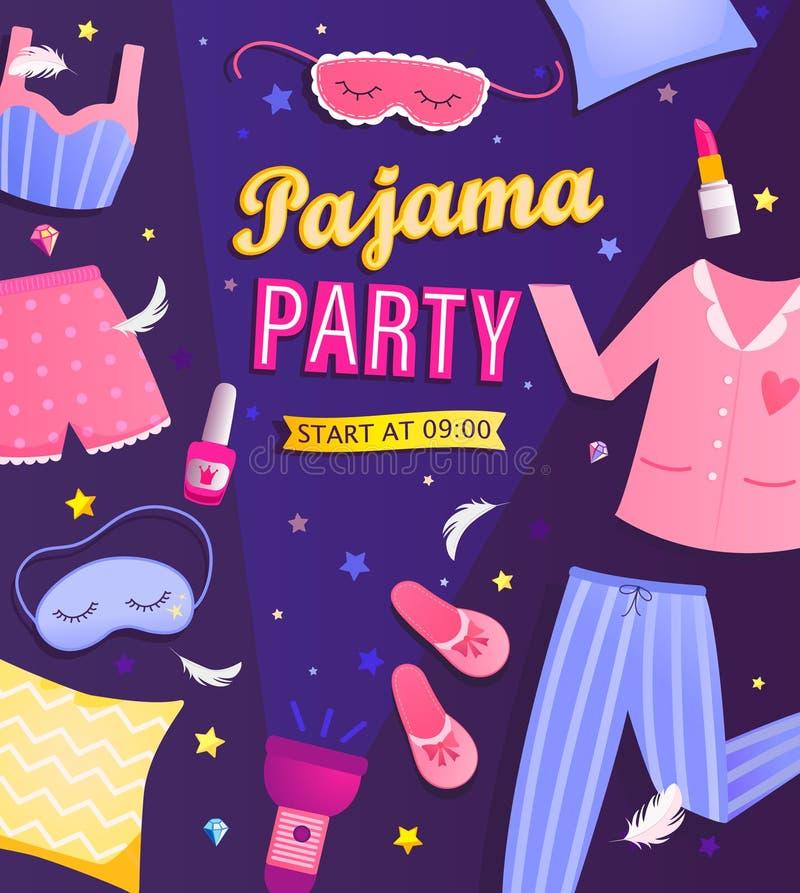 Free Pajama Party`s Invitation Flyer. Stock Photos - 169898983