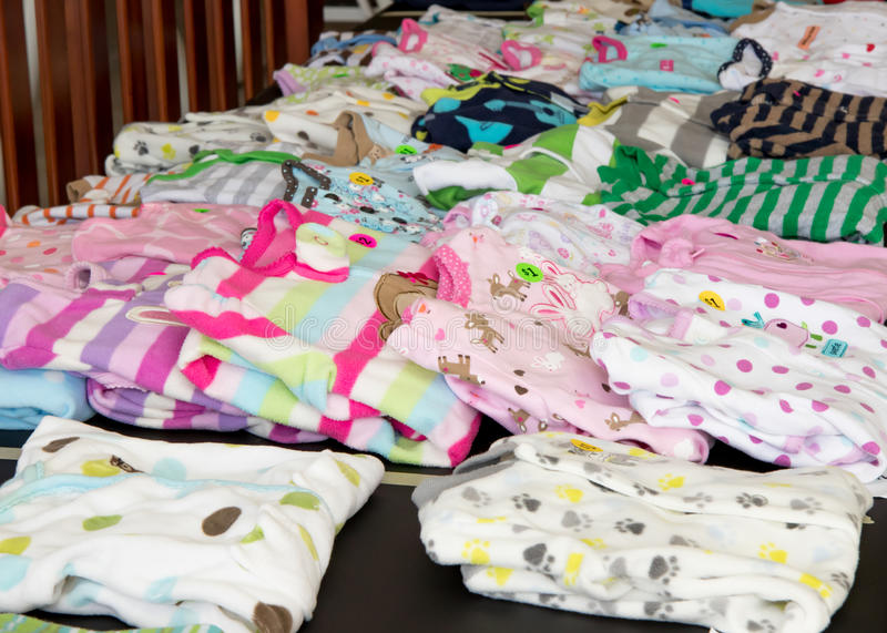 Children S Pajamas On Display At Suburban Garage Sale Stock Photo