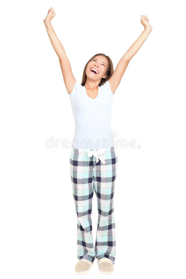 Pajamas woman stretching isolated royalty free stock photography