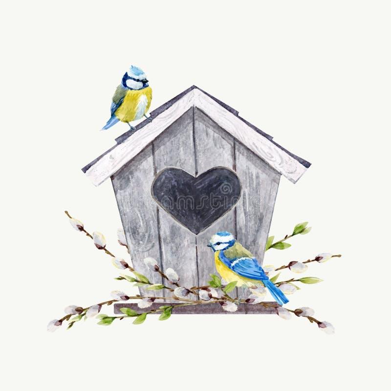 Pajarera del vector de la acuarela con los pájaros libre illustration