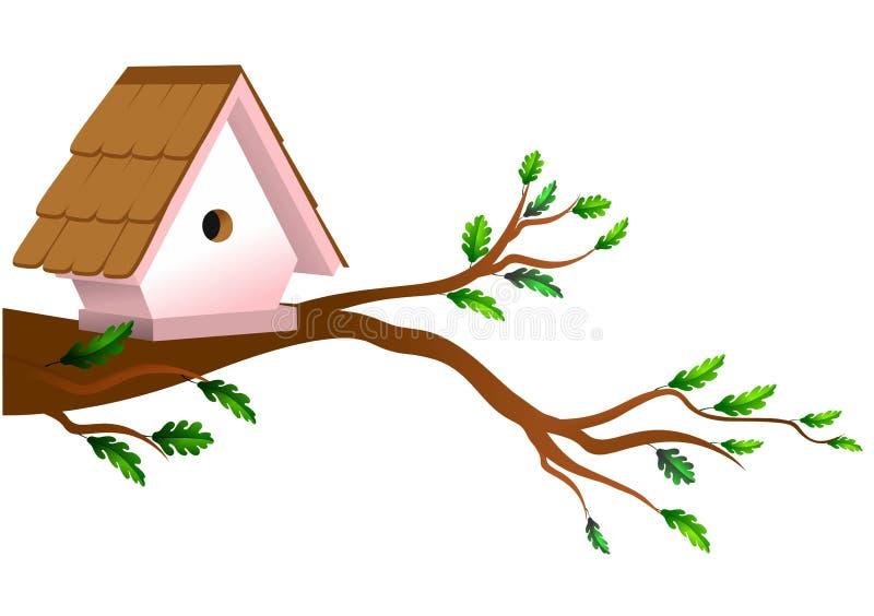 Pajarera en árbol ilustración del vector