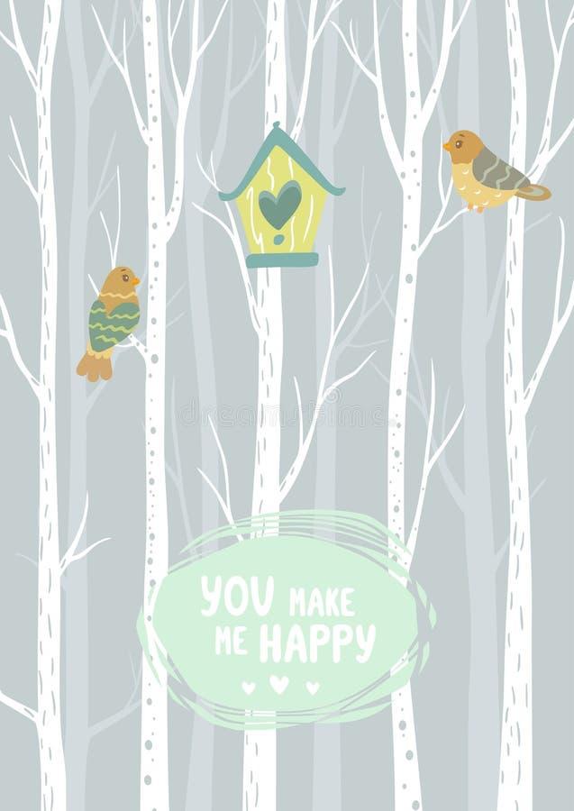 Pajarera y árboles libre illustration
