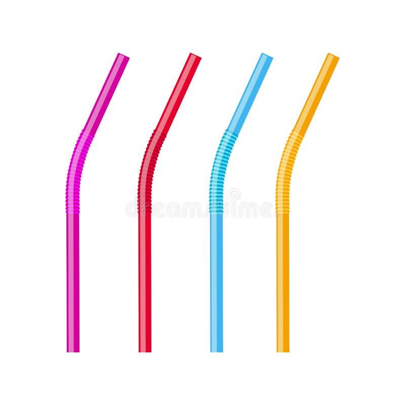 Pajas de beber fijadas Vector la paja plástica del tubo colorido del tubo para el jugo, cóctel aislado libre illustration