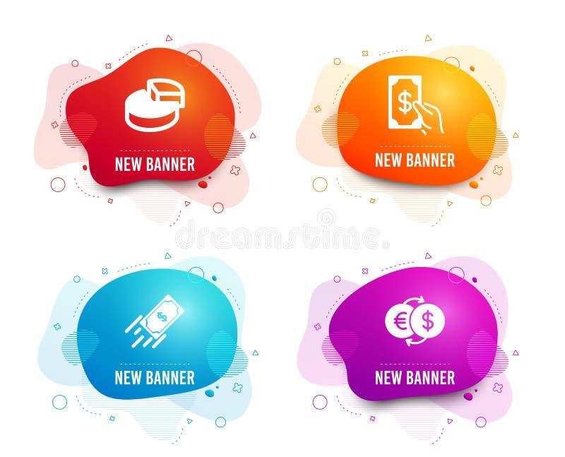 Pajdiagram, snabb betalning och att motta pengarsymboler Tecken för pengarutbyte 3d graf, finansöverföring, kontantbetalning vekt royaltyfri illustrationer