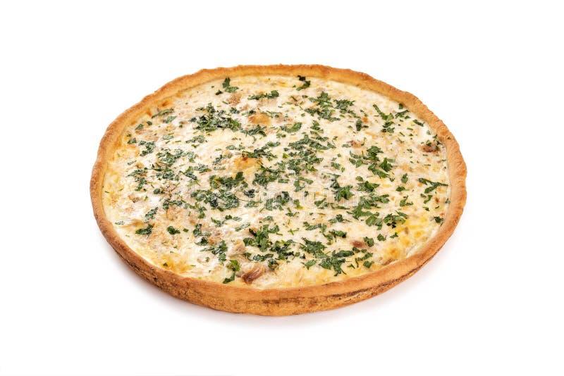 Pajen med köttfärs, stekt kål, ost, mjölkar, ägget arkivfoto