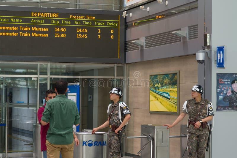 PAJU, COREA DEL SUR - 21 DE JUNIO DE 2013: Estación de Dorasan - la estación de tren que conecta el norte y sur Corea pero es par imagen de archivo