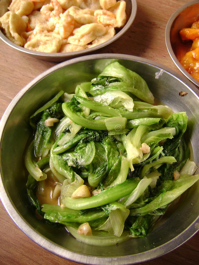 Pak Choi With Oyster Sauce arkivfoto
