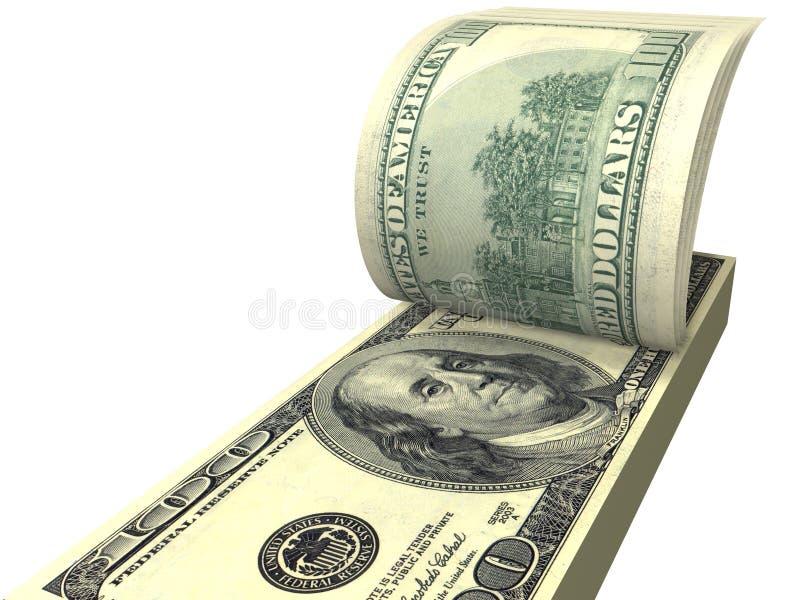 Pak dollars met geschroefte geïsoleerdea rekeningen royalty-vrije illustratie