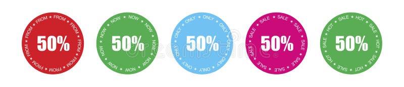 Pak etiketten met 5 verschillende die reclameteksten voor het tonen van productprijs aan 50% wordt voorzien stock illustratie