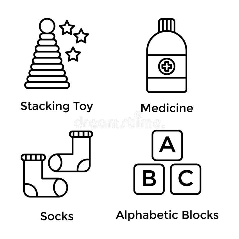 Pak Lijnpictogrammen stock illustratie