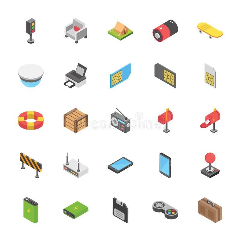Pak Objecten Pictogrammen stock illustratie