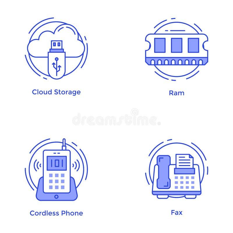 Pak Technologie en Hardwarelijnpictogrammen stock illustratie