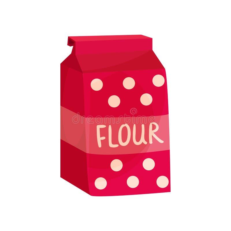 Pak van bloem, het bakken ingrediënten vectorillustratie stock illustratie