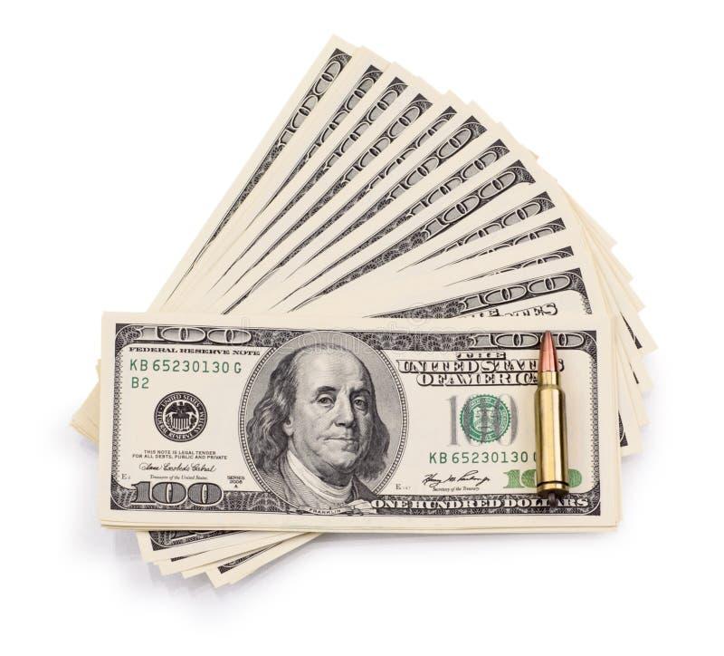 Pak van dollars en kogel royalty-vrije stock afbeeldingen