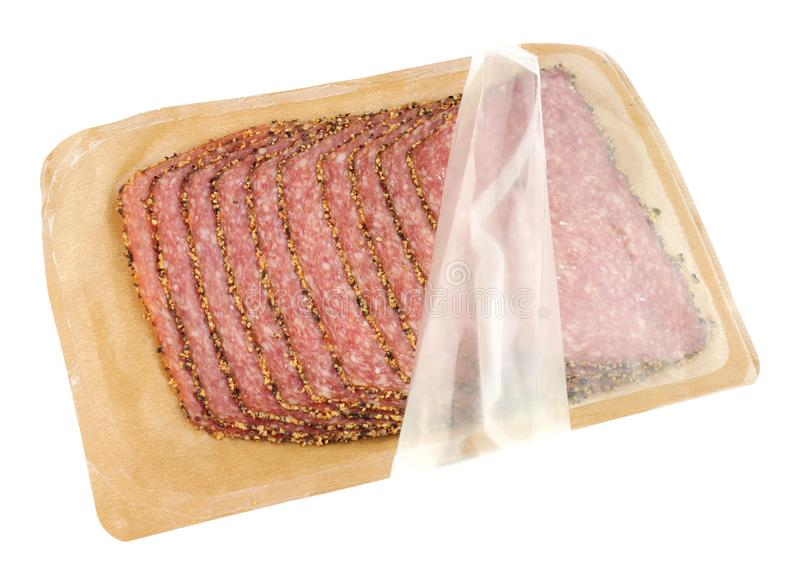 Pak van Duitse Peppered-Salami royalty-vrije stock foto