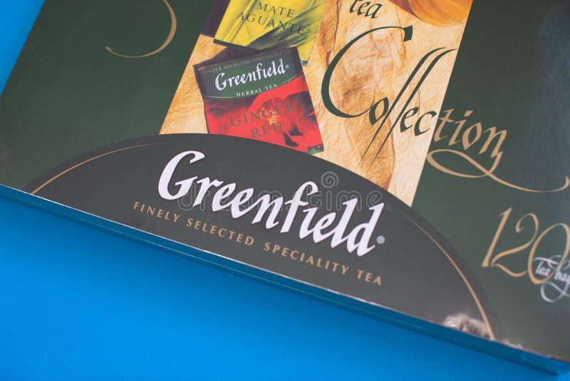 Pak van Greenfieldthee met vele verschillende aroma's stock afbeeldingen