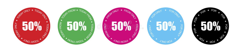 Pak van 5 multicoloured etiketten met 5 verschillende die reclameteksten voor het tonen van productprijs aan 50% wordt voorzien royalty-vrije illustratie