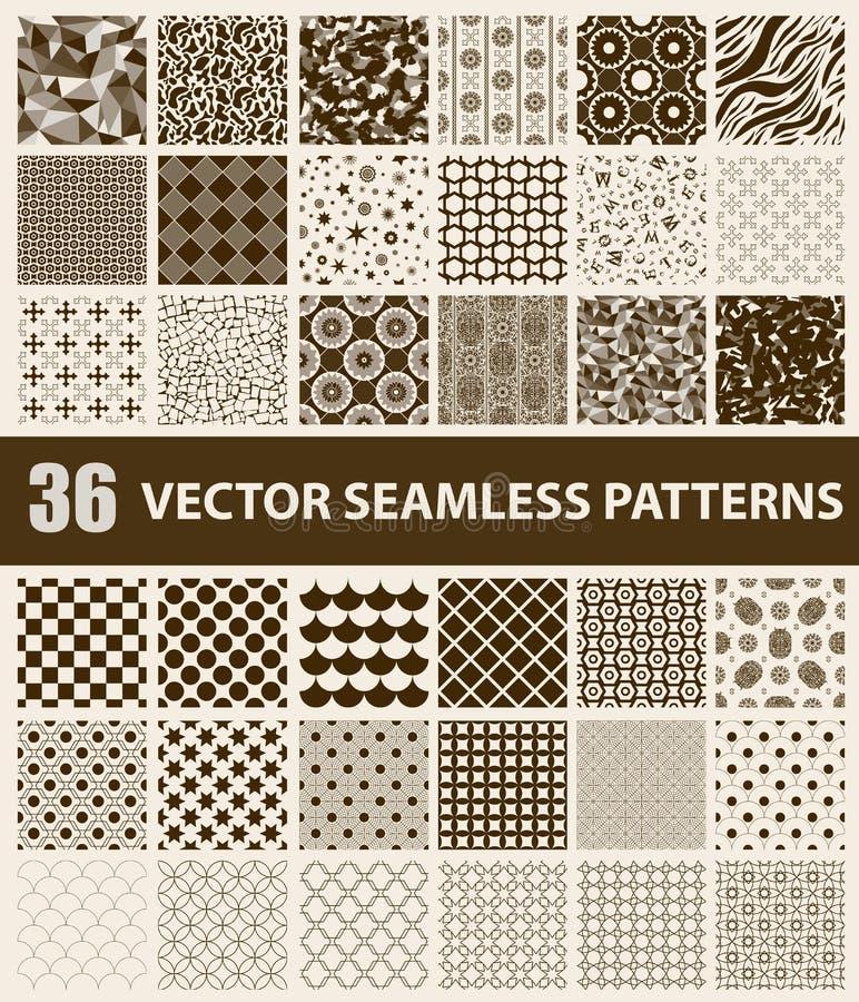 Pak van 36 retro gestileerde bruine vector naadloze patronen royalty-vrije illustratie