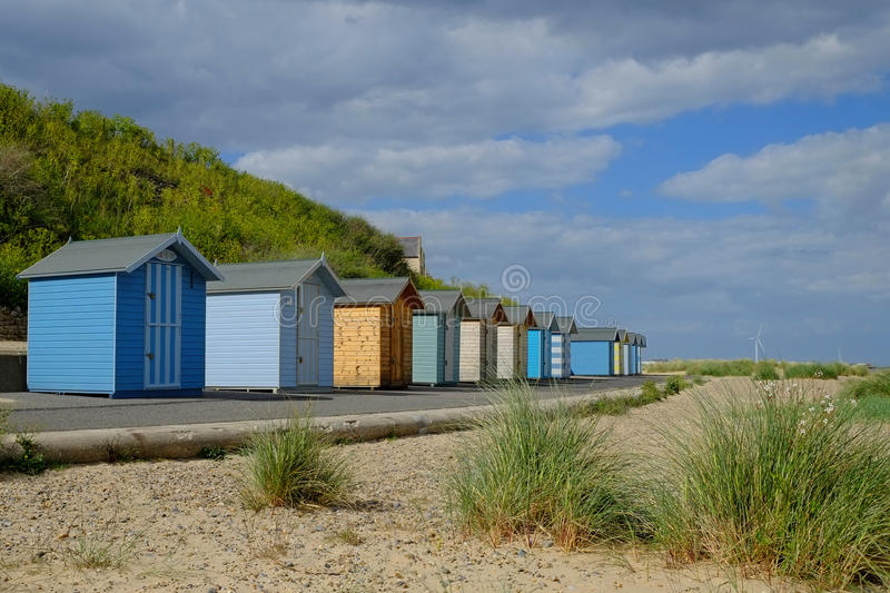 Pakefield Beach Suffolk. Beach huts at Pakefield, near Lowestoft, Suffolk royalty free stock image
