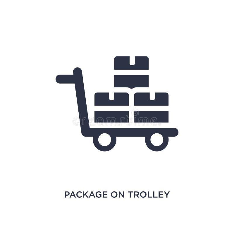 Paket auf Laufkatzenikone auf weißem Hintergrund Einfache Elementillustration vom Lieferungs- und Logistikkonzept stock abbildung