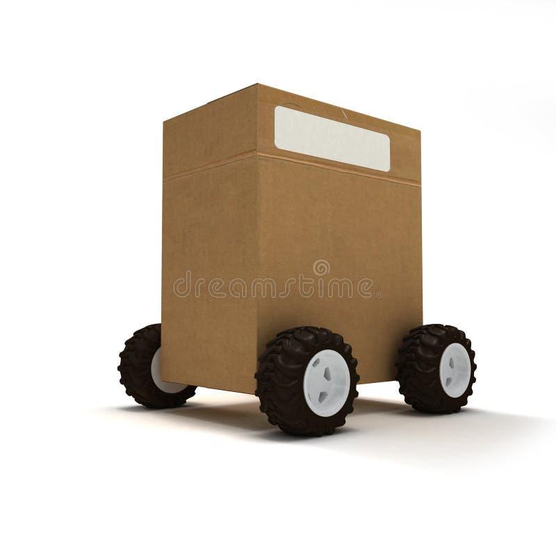 Paket auf Rädern lizenzfreie abbildung