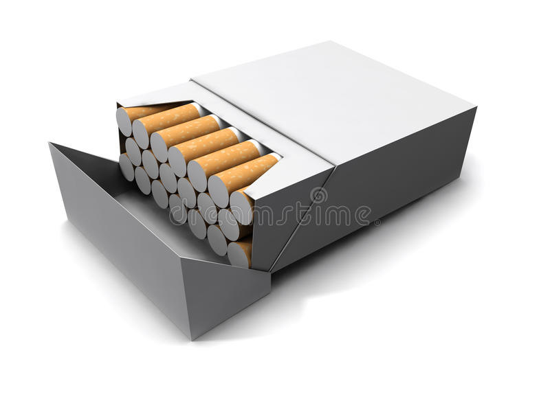 paket 3d av cigaretter stock illustrationer