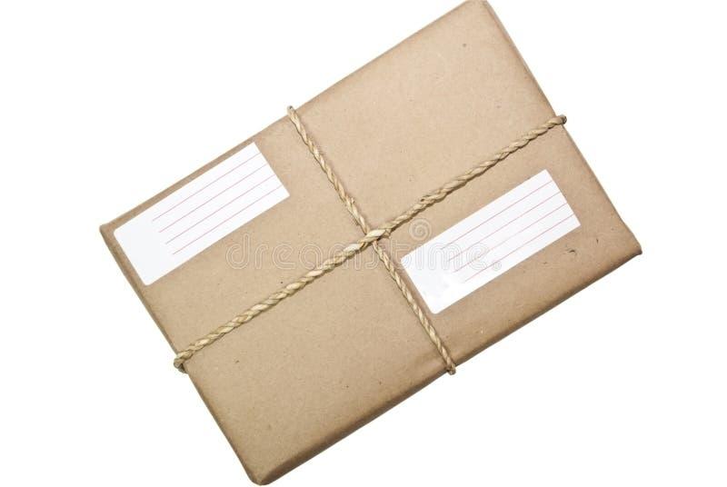 Paket/Paket-Schnur und Kennsatz lizenzfreie stockfotografie