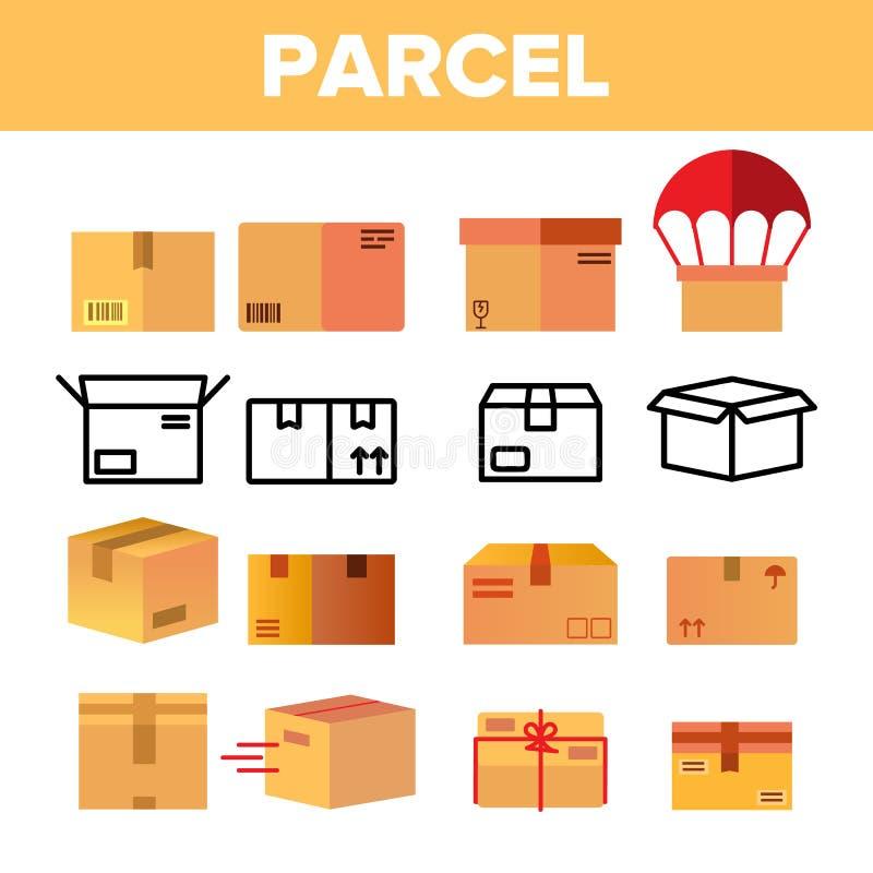 Paket, Pappschachtel-Vektor-Farbikonen-Satz lizenzfreie abbildung