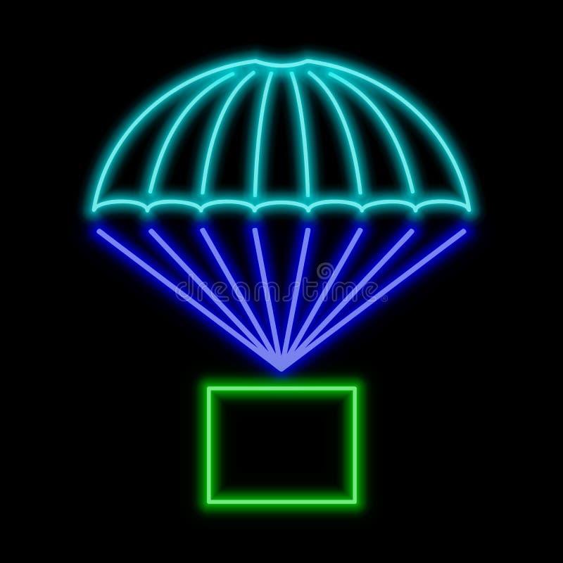 Paketfliegen auf Fallschirmleuchtreklame Helles glühendes Symbol an vektor abbildung