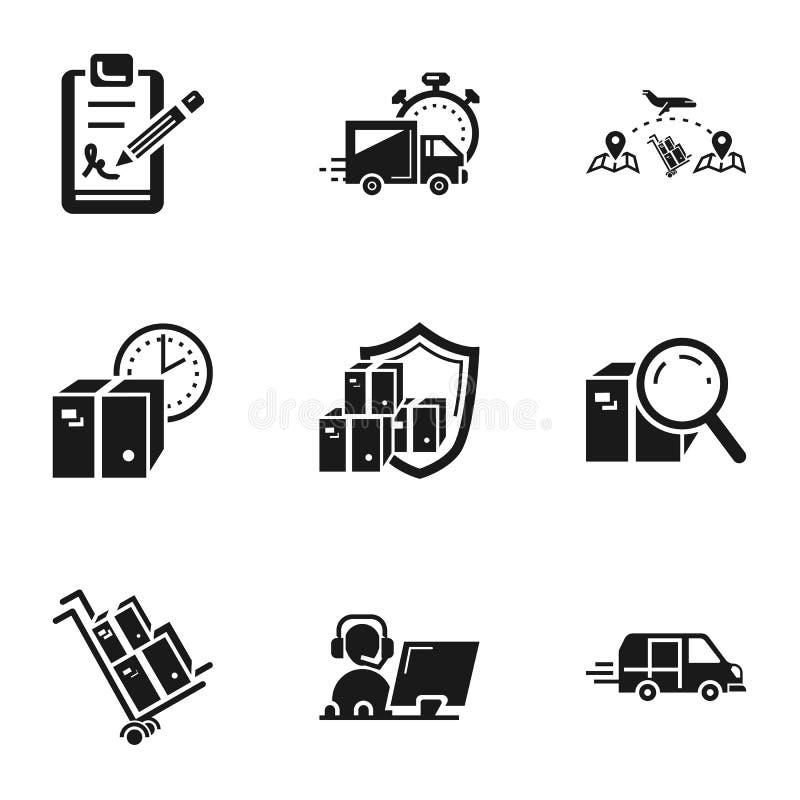 Paketkastenlieferungs-Ikonensatz, einfache Art lizenzfreie abbildung