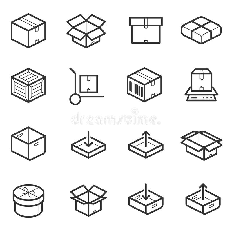 Paketlinie dünner Ikonenvektorsatz Kästen, Kisten, Behälter vektor abbildung
