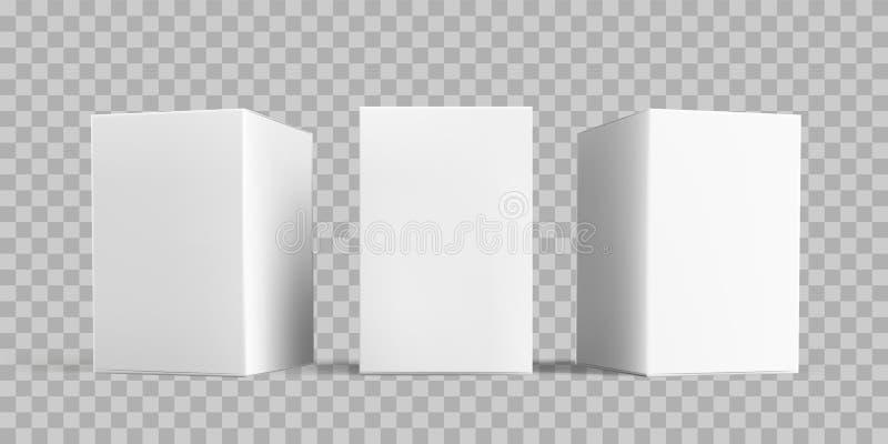 Paketmodellsatz des weißen Kastens Vektor lokalisierte weiße Papp- oder Papierpaketkasten-Modellschablonen des Kartons 3D, transp vektor abbildung
