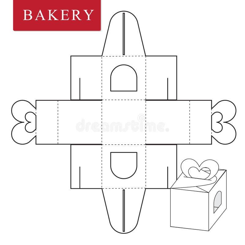Paketschablone f?r B?ckereinahrung oder andere Einzelteile vektor abbildung