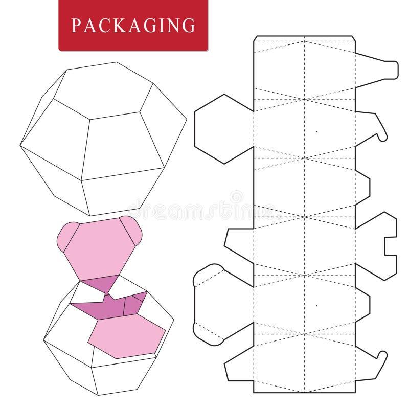 Paketschablone Vektor-Illustration des Griffkastens lizenzfreie abbildung