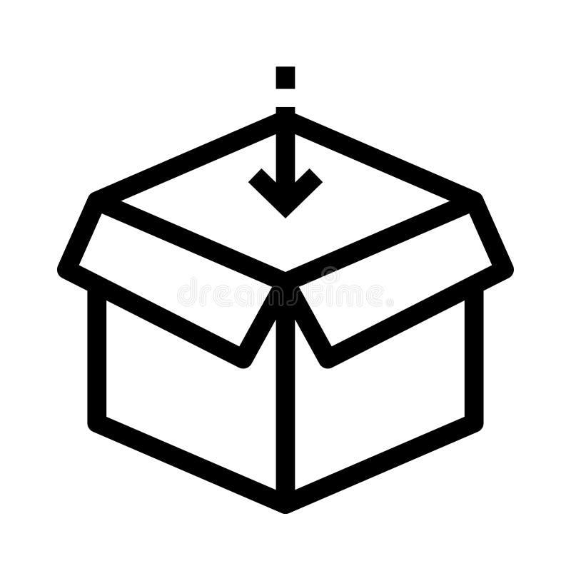 Paketvektorlinie Ikone lizenzfreie abbildung