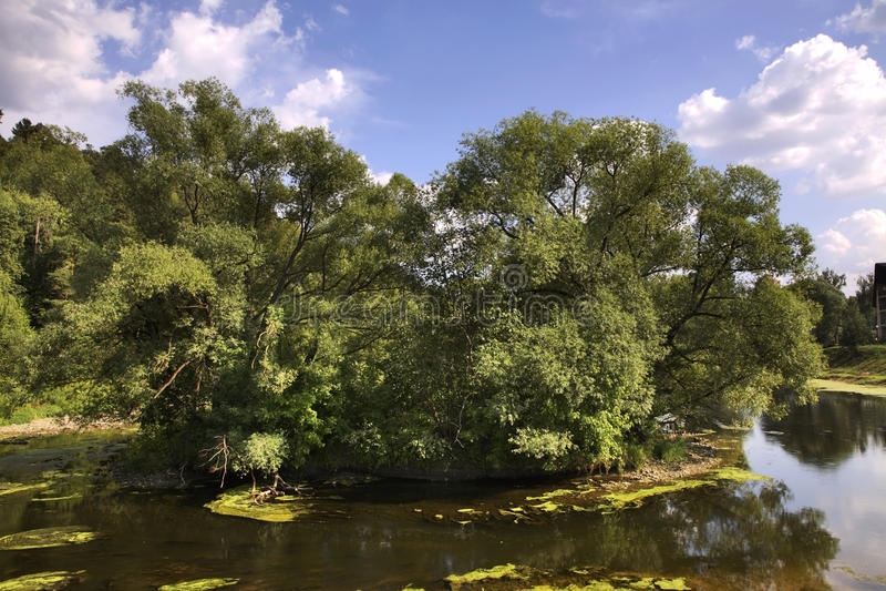 Pakhra河岸在Dubrovitsy 俄国 库存图片