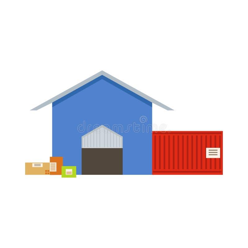 Pakhuis die Buitenmening met Twee Depotzalen bouwen in Blauwe Opslag en Rode Verschepende Container vector illustratie