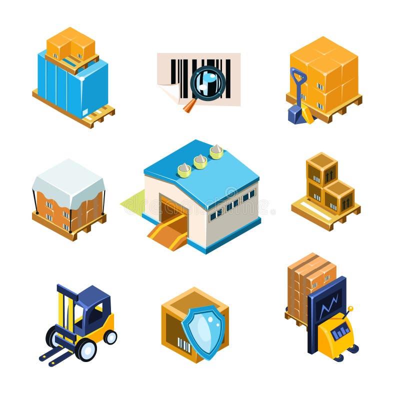 Pakhuis en het Pictogramreeks van het Logistiekmateriaal Vector vector illustratie