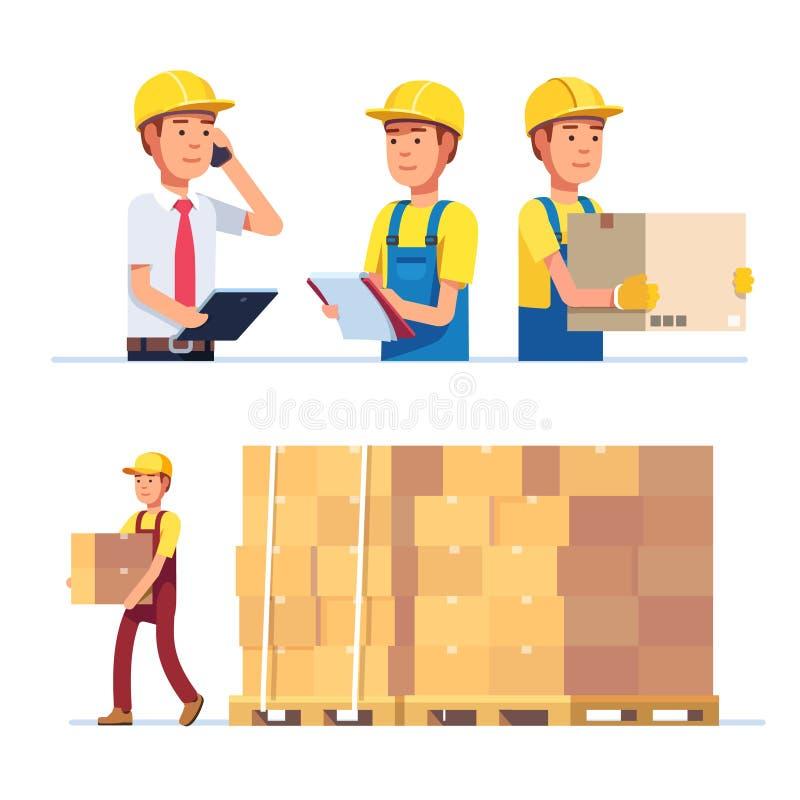 Pakhuis en leveringsarbeiders vector illustratie