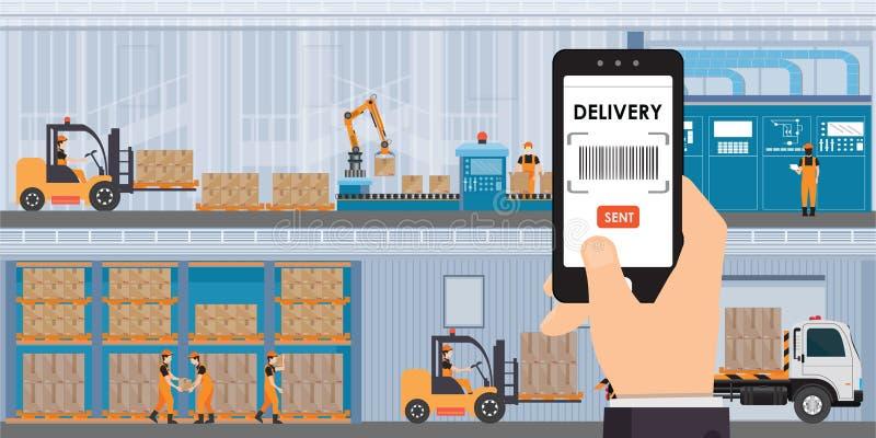 Pakhuis en opslag app op een smartphone met goederen en dozen op planken stock afbeeldingen