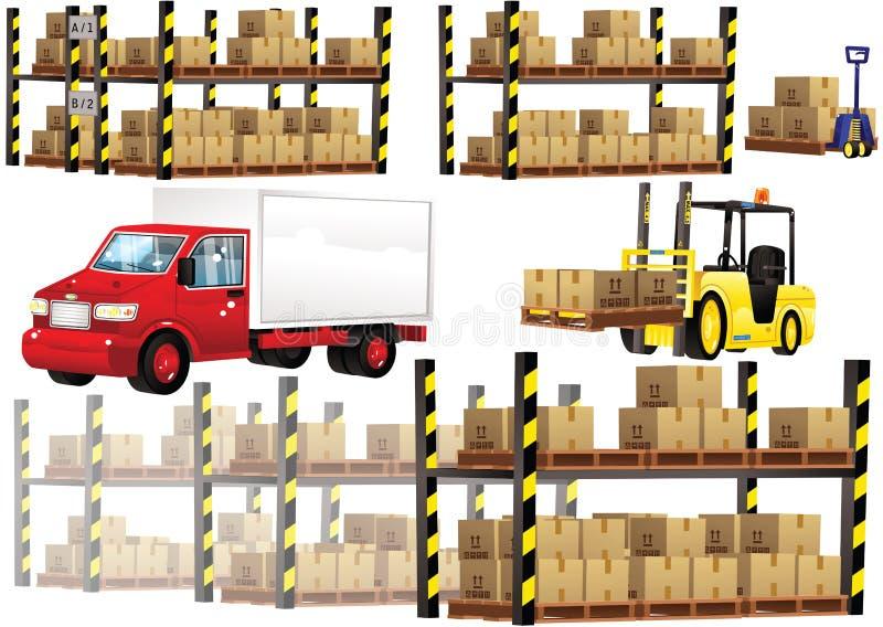 Pakhuis het opschorten en vervoer stock illustratie