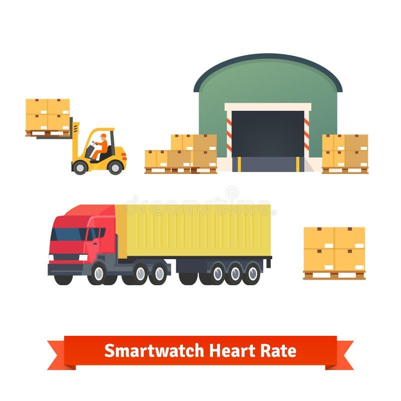 Pakhuis, logistiek, aanhangwagenvrachtwagen, ladende lading royalty-vrije illustratie