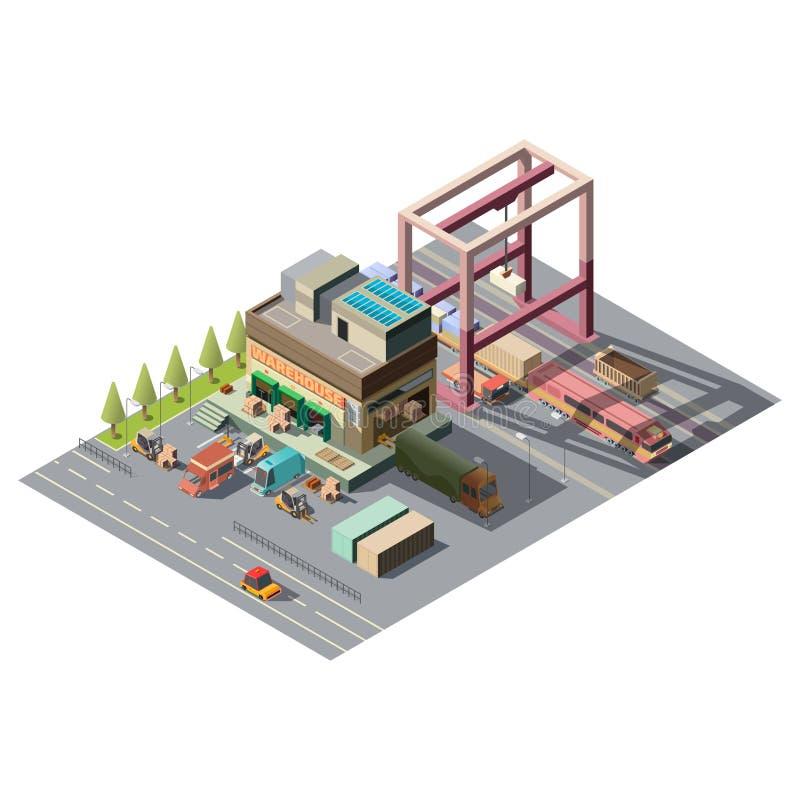Pakhuis met 3d isometrische vector van ladingsauto's stock illustratie